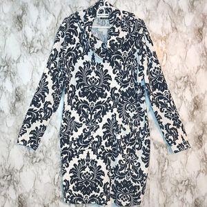Fresh FX Navy Damask Cowl Neck Sweater Dress